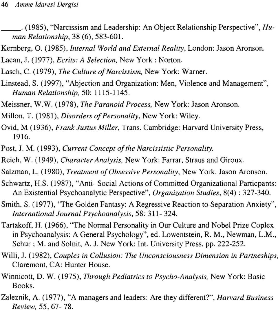"(1997), ""Abjection and Organization: Men, Violence and Management"", Human Relationship, 50: 1115-1145. Meissner, W.W. (1978), The Paranoid Process, New York: Jason Aronson. Millon, T."