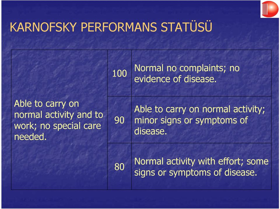 Able to carry on normal activity and to work; no special care needed.