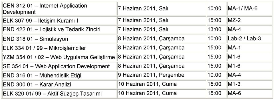 2011, 15:00 MA-1 YZM 354 01 / 02 Web Uygulama Geliştirme 8 Haziran 2011, 15:00 M1-6 SE 354 01 Web Application Development 8 Haziran 2011, 15:00 M1-6 END 316 01