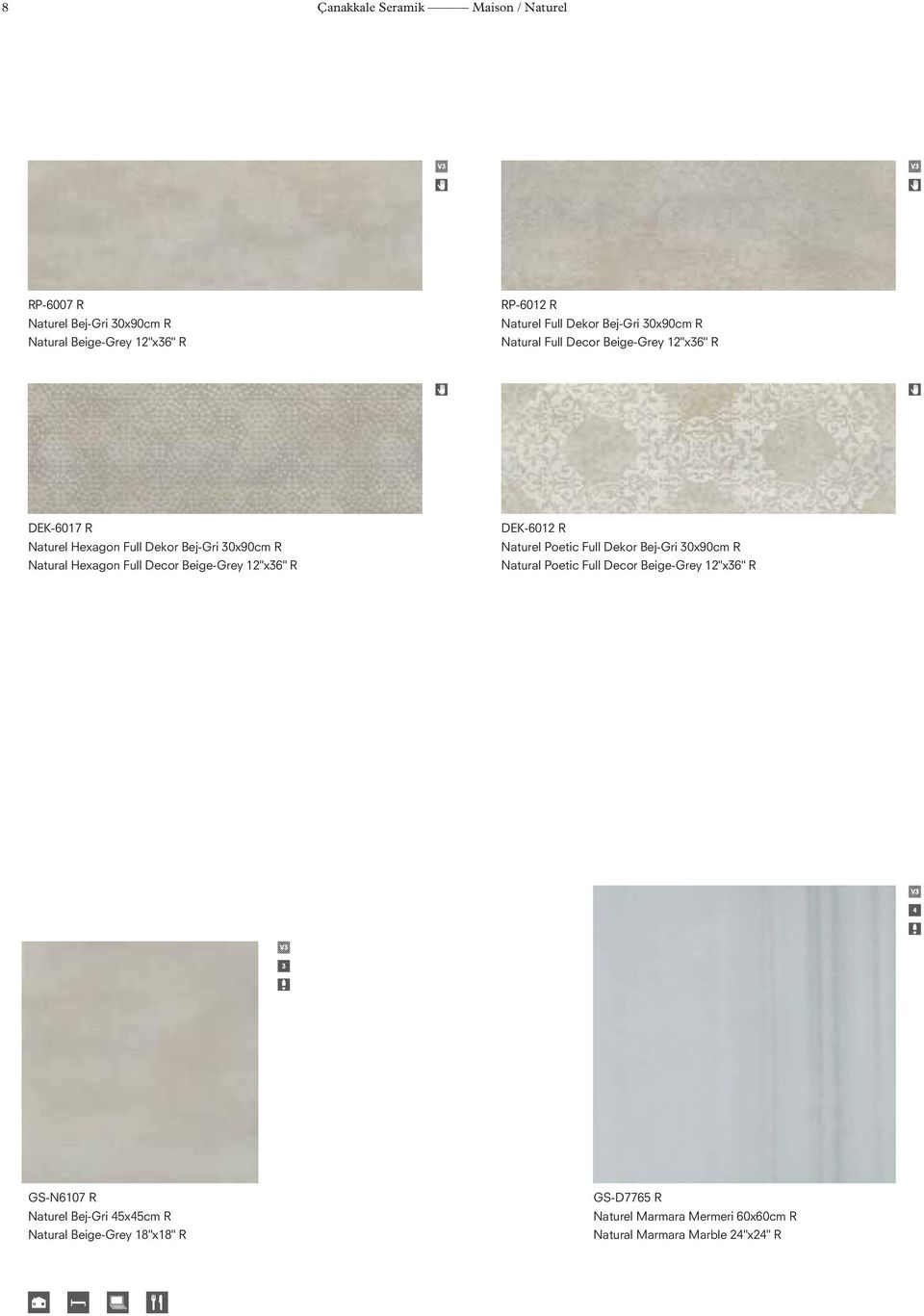 "Decor Beige-Grey 12""x36"" R DEK-6012 R Naturel Poetic Full Dekor Bej-Gri 30x90cm R Natural Poetic Full Decor Beige-Grey 12""x36"" R"