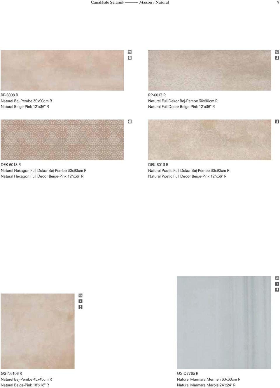"Full Decor Beige-Pink 12""x36"" R DEK-6013 R Naturel Poetic Full Dekor Bej-Pembe 30x90cm R Natural Poetic Full Decor Beige-Pink 12""x36"" R"