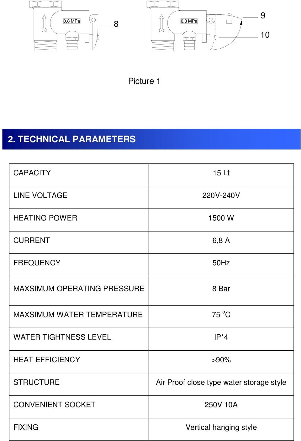 A FREQUENCY 50Hz MAXSIMUM OPERATING PRESSURE 8 Bar MAXSIMUM WATER TEMPERATURE 75 o C WATER