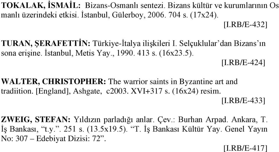 RB/E-424] WALTER, CHRISTOPHER: The warrior saints in Byzantine art and tradiition. [England], Ashgate, c2003. XVI+317 s. (16x24) resim. [I.