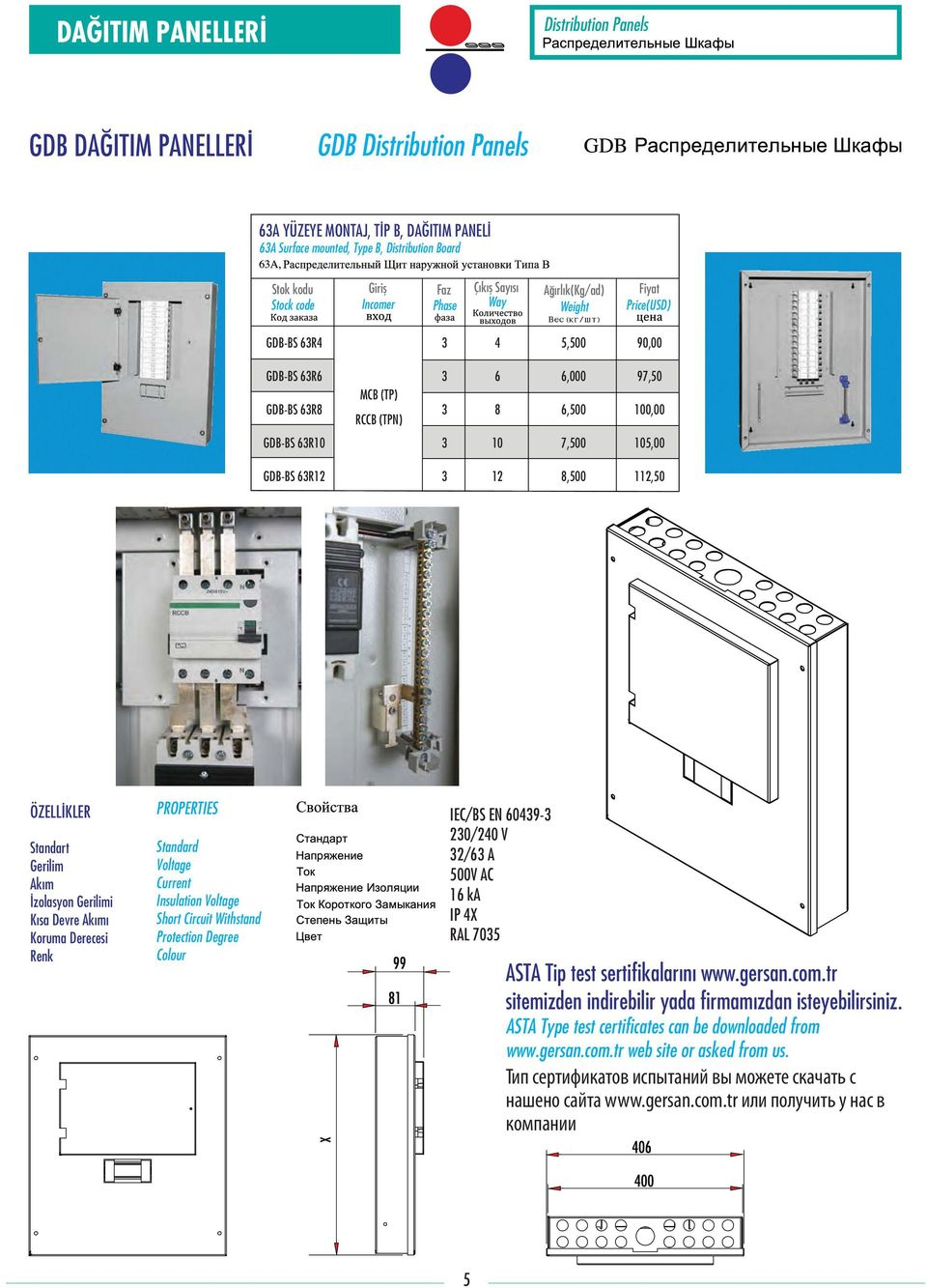 Standart Gerilim Akım İzolasyon Gerilimi Kısa Devre Akımı Koruma Derecesi Renk PROPERTIES Standard Voltage Current Insulation Voltage Short Circuit Withstand Protection Degree Colour IEC/BS EN