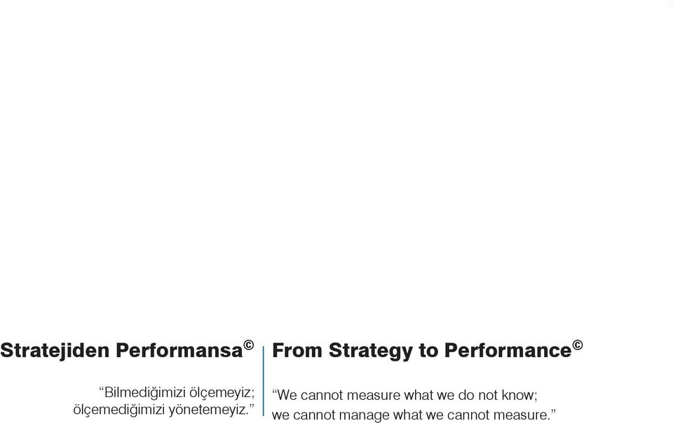 From Strategy to Performance We cannot measure