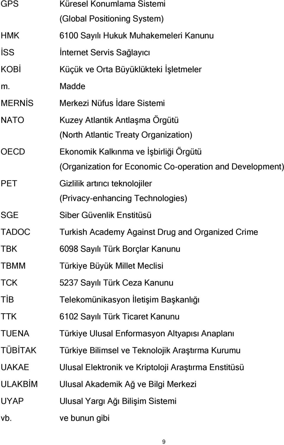 Merkezi Nüfus İdare Sistemi Kuzey Atlantik Antlaşma Örgütü (North Atlantic Treaty Organization) Ekonomik Kalkınma ve İşbirliği Örgütü (Organization for Economic Co-operation and Development) Gizlilik