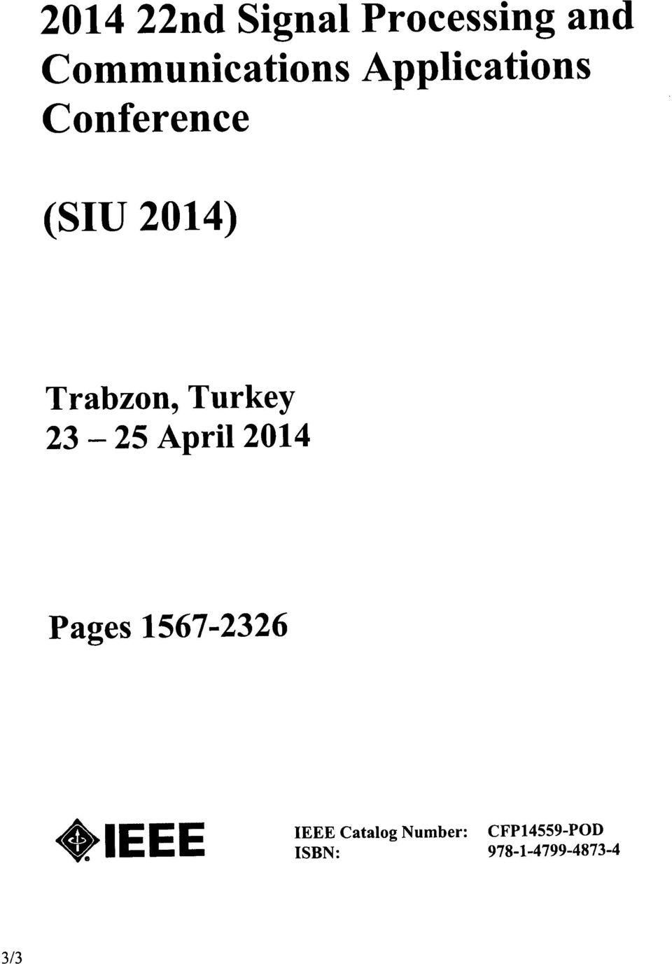 Turkey - 23 25 April 2014 Pages 1567-2326 IEEE