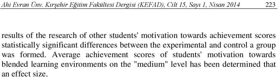 other students' motivation towards achievement scores statistically significant differences between the