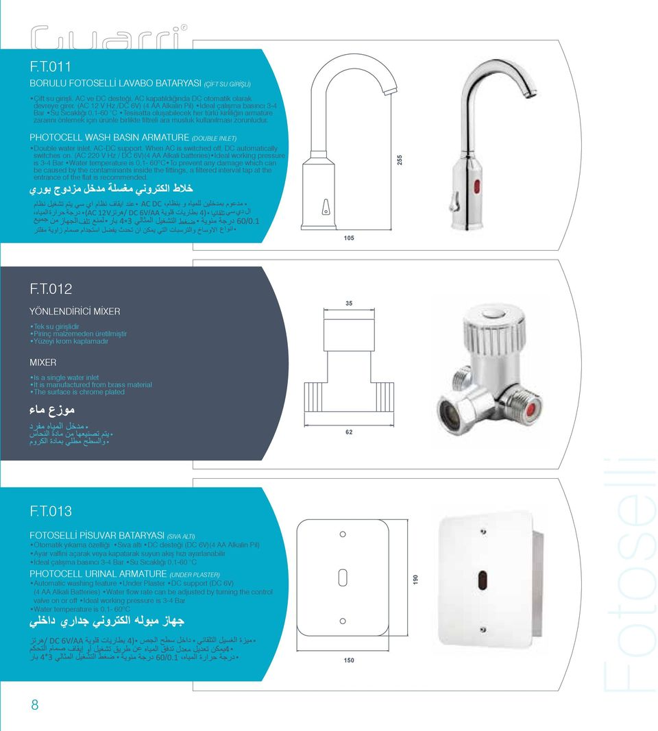 musluk kullanılması zorunludur. PHOTOCELL WASH BASIN ARMATURE (DOUBLE INLET) Double water inlet. AC-DC support. When AC is switched off, DC automatically switches on.