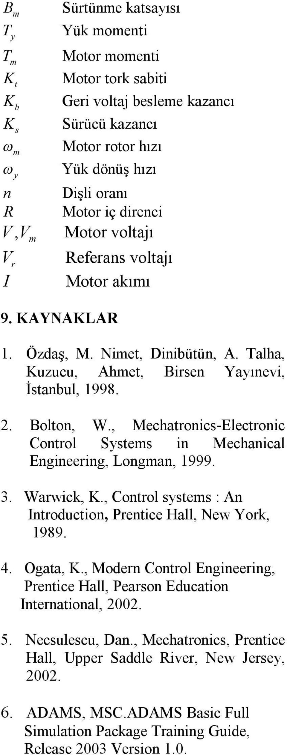 , Mechatronic-Electronic Control Ste in Mechanical Engineering, Longan, 999. 3. Warwick,., Control te : An Introduction, Prentice Hall, New York, 989. 4. Ogata,.