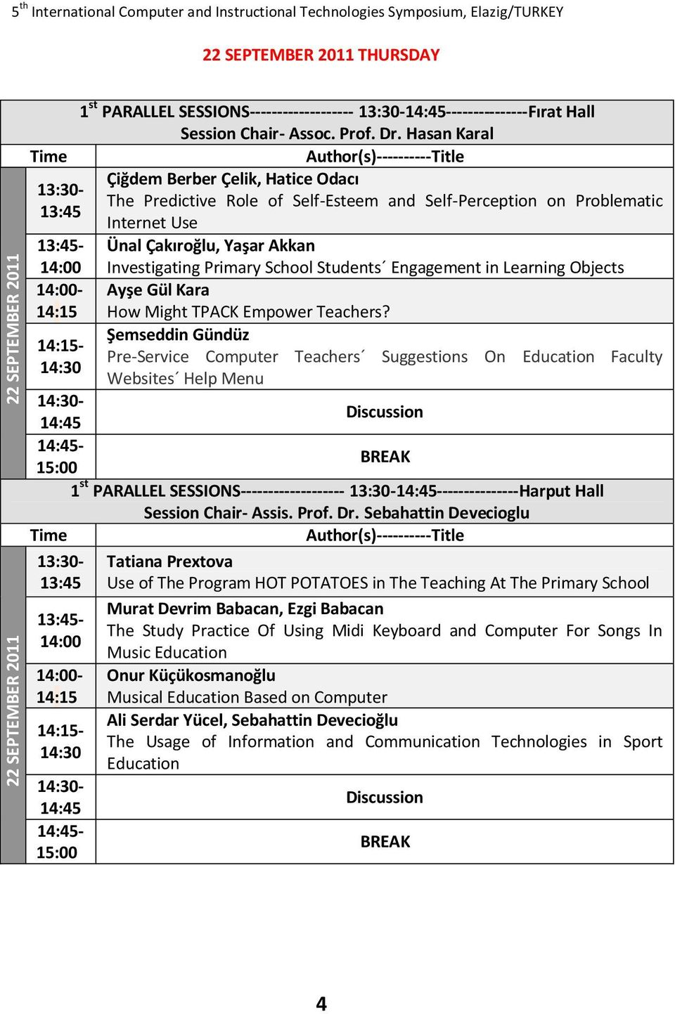 Primary School Students Engagement in Learning Objects 14:00- Ayşe Gül Kara 14:15 How Might TPACK Empower Teachers?