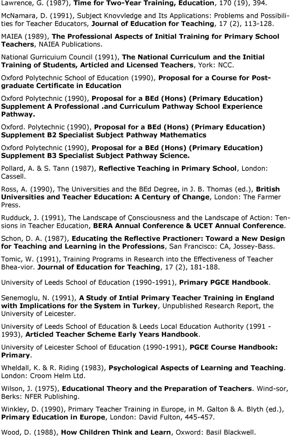 MAIEA (1989), The Professional Aspects of Initial Training for Primary School Teachers, NAIEA Publications.