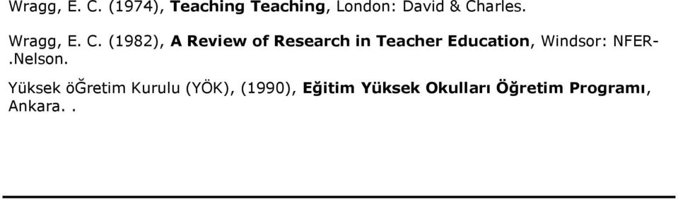 (1982), A Review of Research in Teacher Education, Windsor: