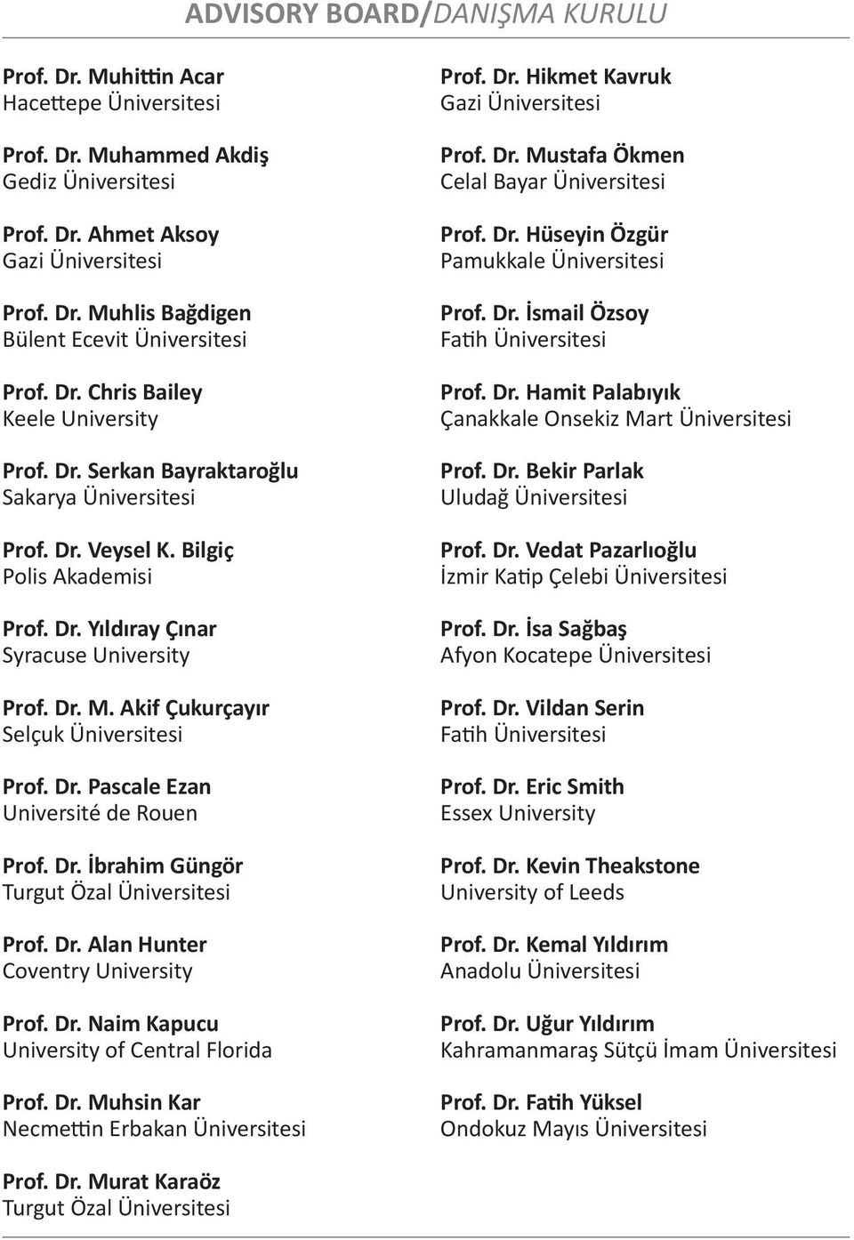 Akif Çukurçayır Selçuk Üniversitesi Prof. Dr. Pascale Ezan Université de Rouen Prof. Dr. İbrahim Güngör Turgut Özal Üniversitesi Prof. Dr. Alan Hunter Coventry University Prof. Dr. Naim Kapucu University of Central Florida Prof.