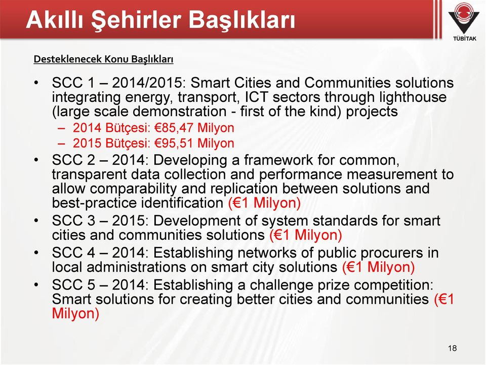 measurement to allow comparability and replication between solutions and best-practice identification ( 1 Milyon) SCC 3 2015: Development of system standards for smart cities and communities