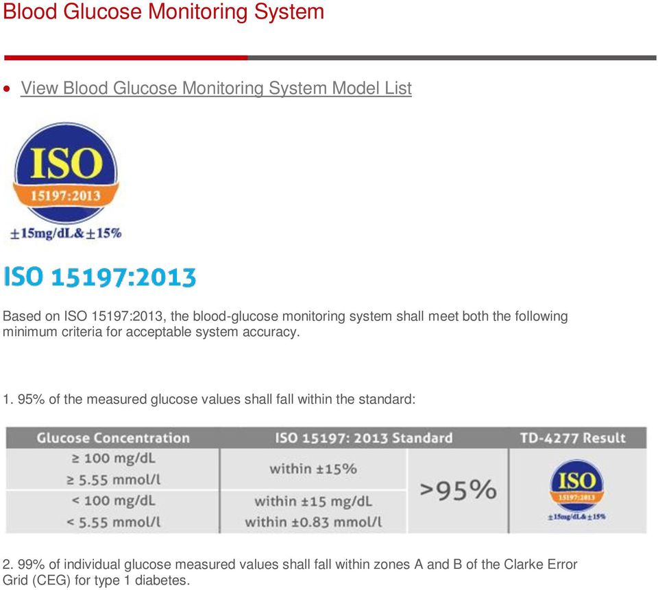 accuracy. 1. 95% of the measured glucose values shall fall within the standard: 2.