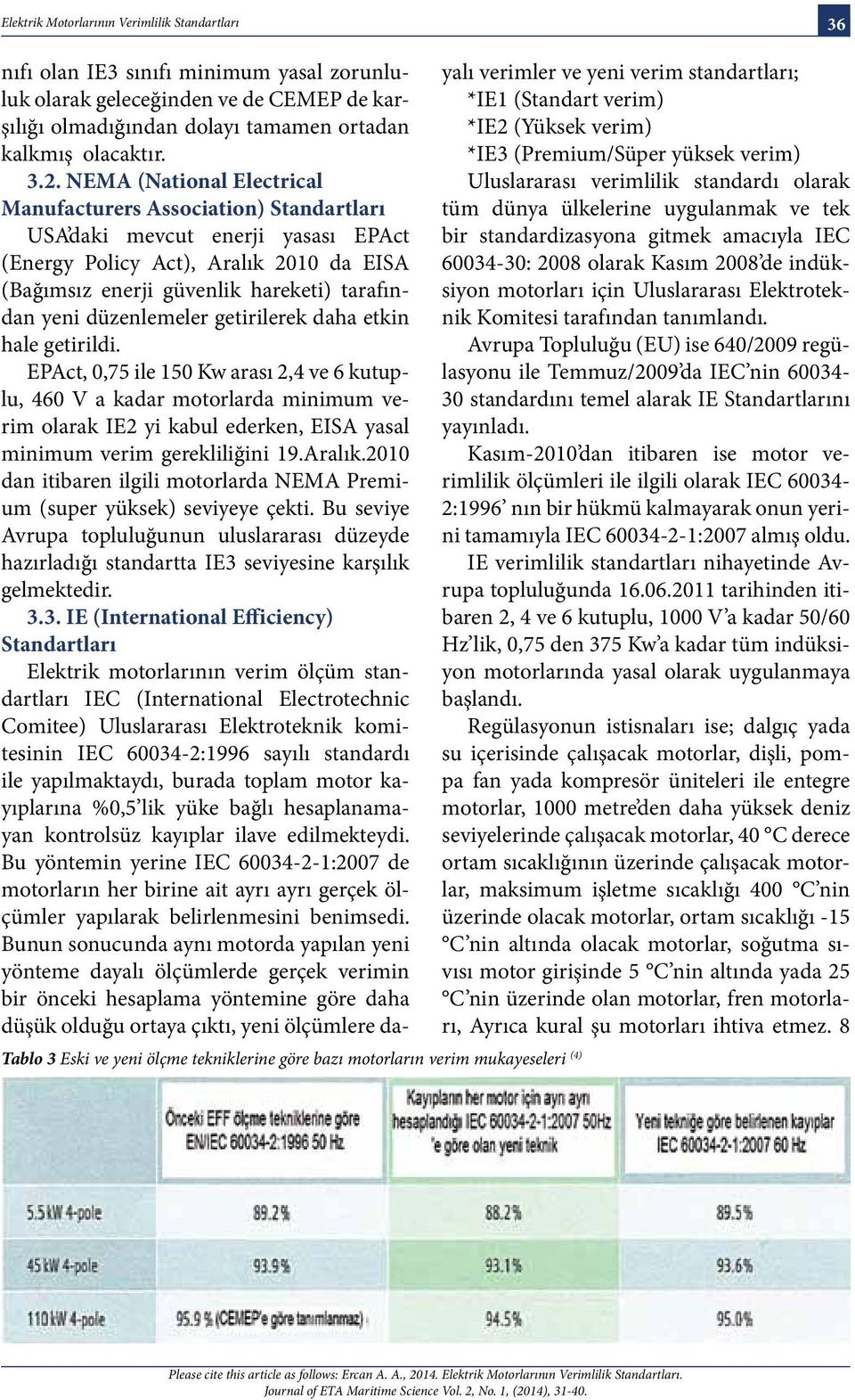 NEMA (National Electrical Manufacturers Association) Standartları USA daki mevcut enerji yasası EPAct (Energy Policy Act), Aralık 2010 da EISA (Bağımsız enerji güvenlik hareketi) tarafından yeni