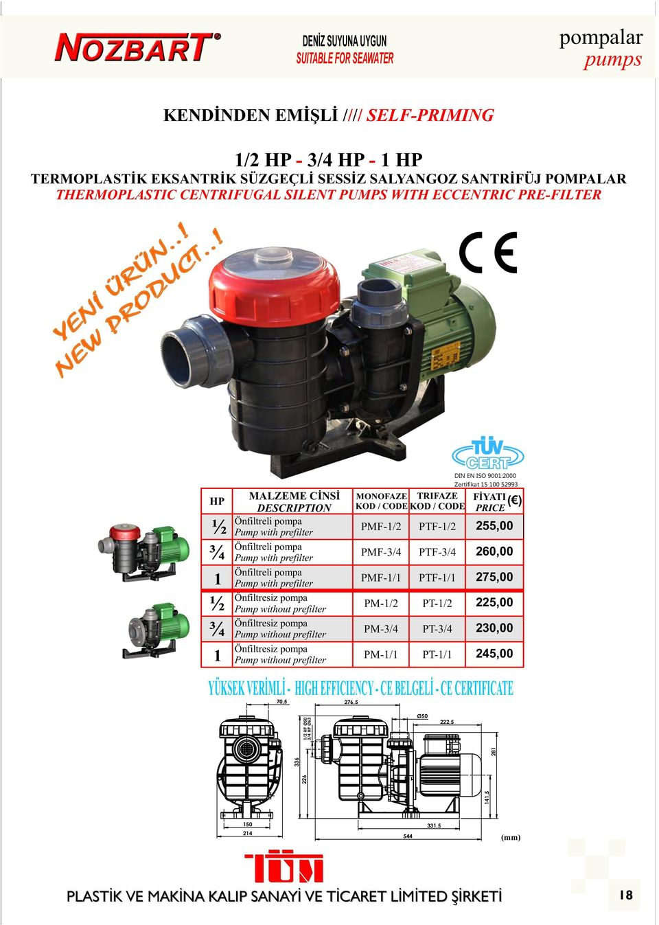 .! HP ½ ¾ 1 ½ ¾ Önfiltreli pompa Pump with prefilter Önfiltreli pompa Pump with prefilter Önfiltreli pompa Pump with prefilter Önfiltresiz pompa Pump without prefilter Önfiltresiz pompa Pump without