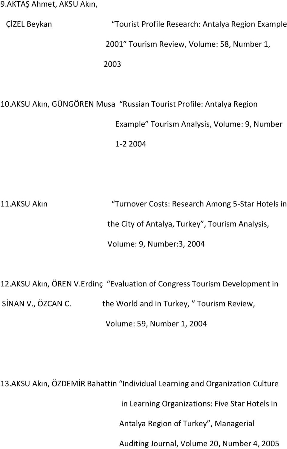 AKSU Akın Turnover Costs: Research Among 5-Star Hotels in the City of Antalya, Turkey, Tourism Analysis, Volume: 9, Number:3, 2004 12.AKSU Akın, ÖREN V.