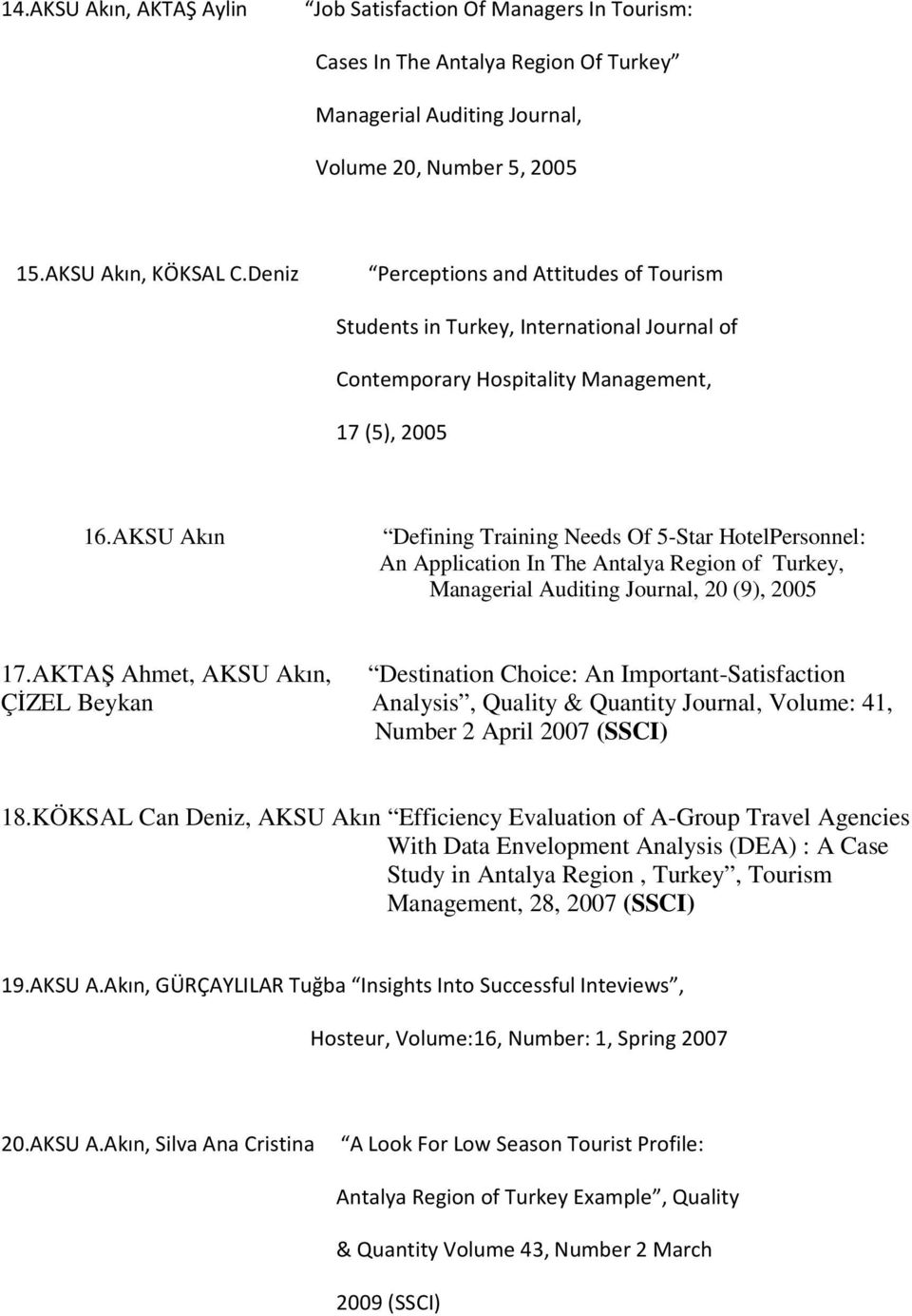 AKSU Akın Defining Training Needs Of 5-Star HotelPersonnel: An Application In The Antalya Region of Turkey, Managerial Auditing Journal, 20 (9), 2005 17.