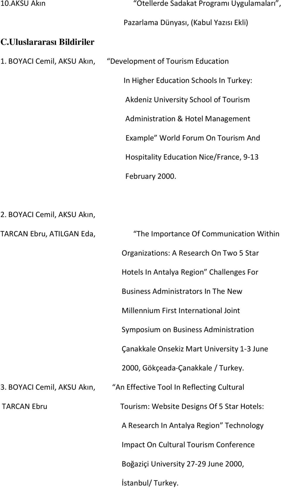 And Hospitality Education Nice/France, 9-13 February 20