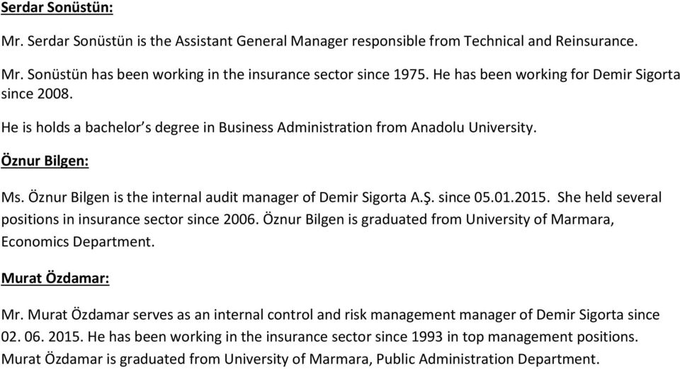 Öznur Bilgen is the internal audit manager of Demir Sigorta A.Ş. since 05.01.2015. She held several positions in insurance sector since 2006.