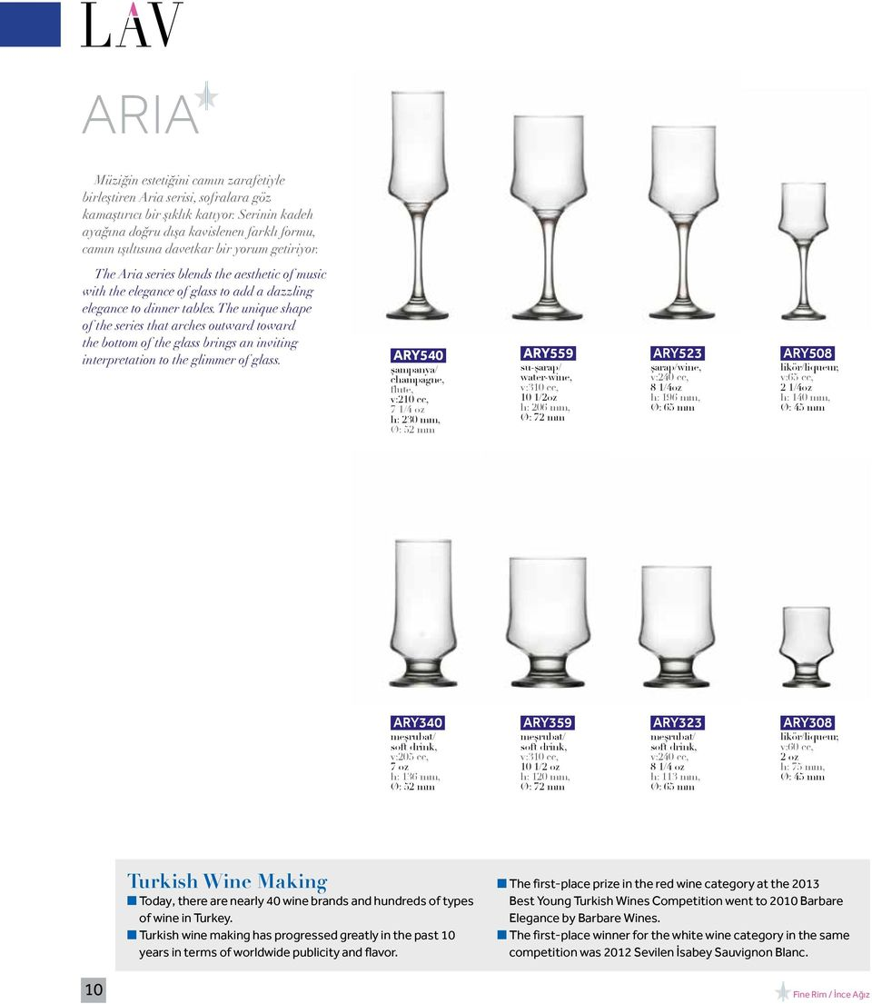 The Aria series blends the aesthetic of music with the elegance of glass to add a dazzling elegance to dinner tables.