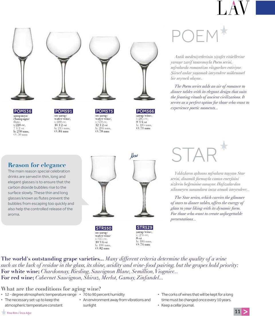 mm, Ø: 78 mm POM566 şarap/wine, v:285 cc, 9 3/4 oz h: 185 mm, Ø: 71 mm The Poem series adds an air of romance to dinner tables with its elegant design that suits the feasting rituals of ancient