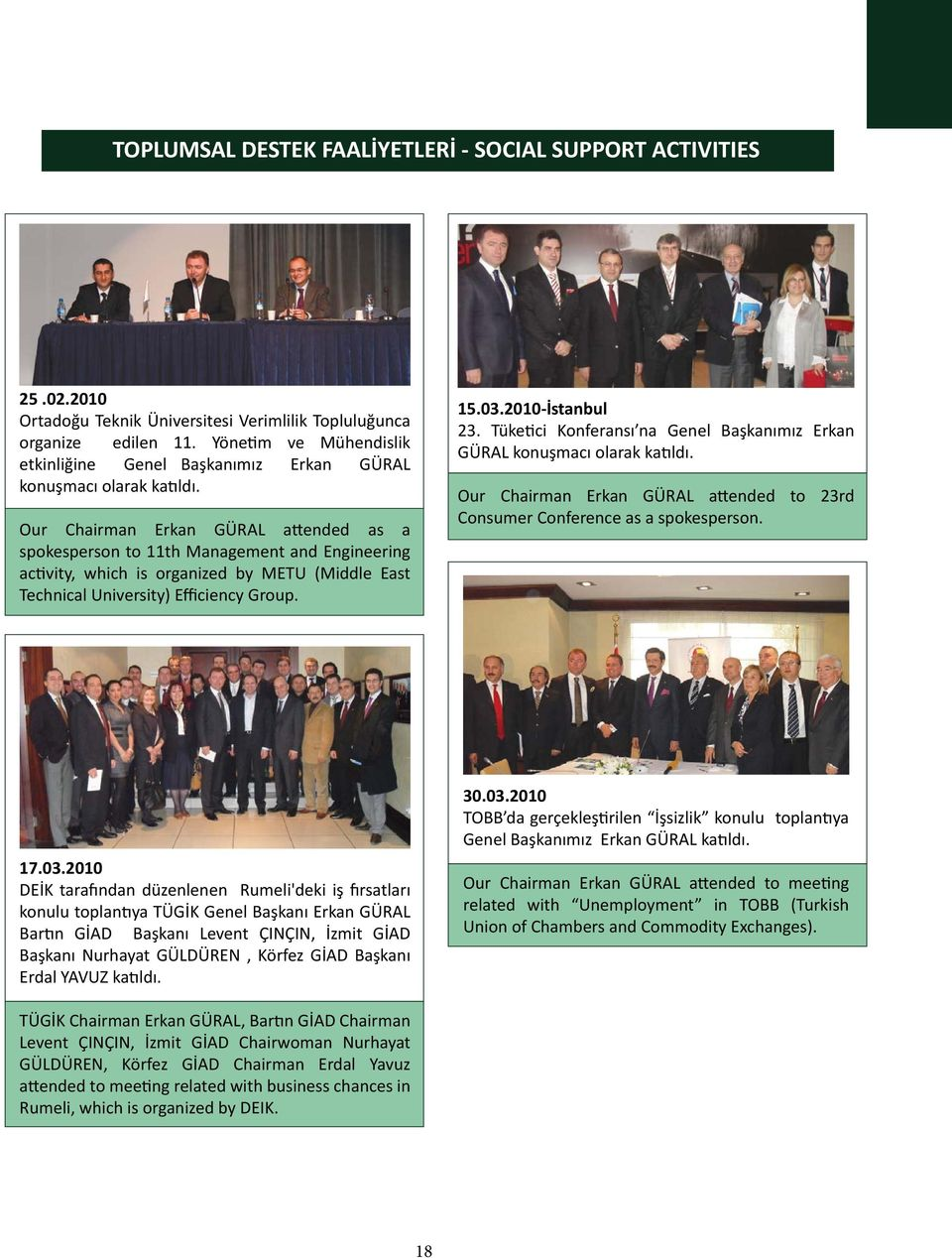 Our Chairman Erkan GÜRAL attended as a spokesperson to 11th Management and Engineering activity, which is organized by METU (Middle East Technical University) Efficiency Group. 15.03.2010-İstanbul 23.