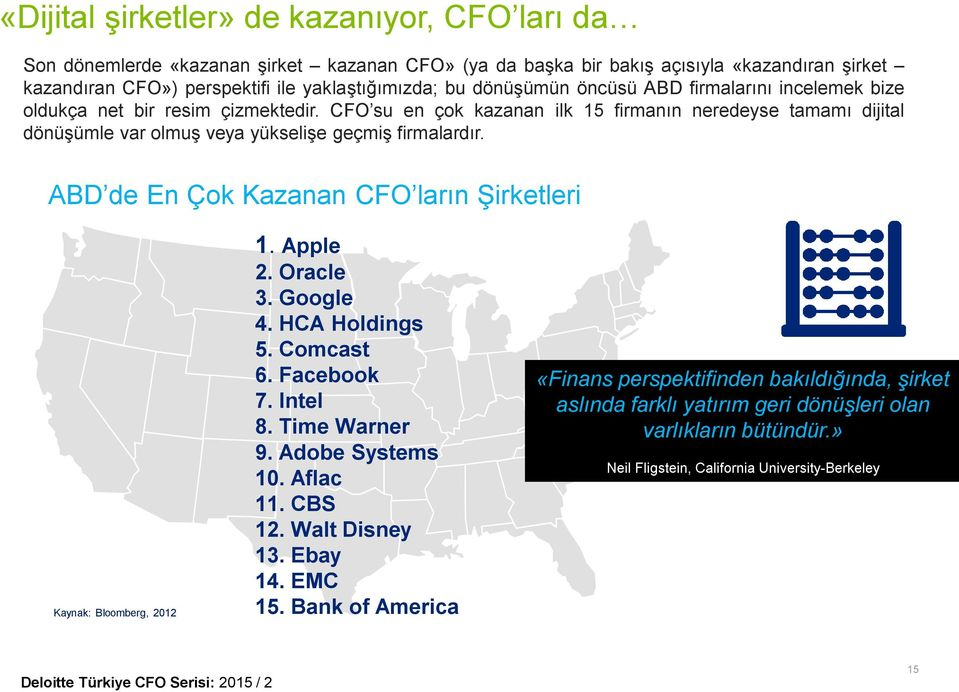 ABD de En Çok Kazanan CFO ların Şirketleri Kaynak: Bloomberg, 2012 1. Apple 2. Oracle 3. Google 4. HCA Holdings 5. Comcast 6. Facebook 7. Intel 8. Time Warner 9. Adobe Systems 10. Aflac 11. CBS 12.