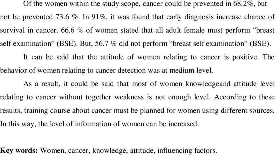It can be said that the attitude of women relating to cancer is positive. The behavior of women relating to cancer detection was at medium level.