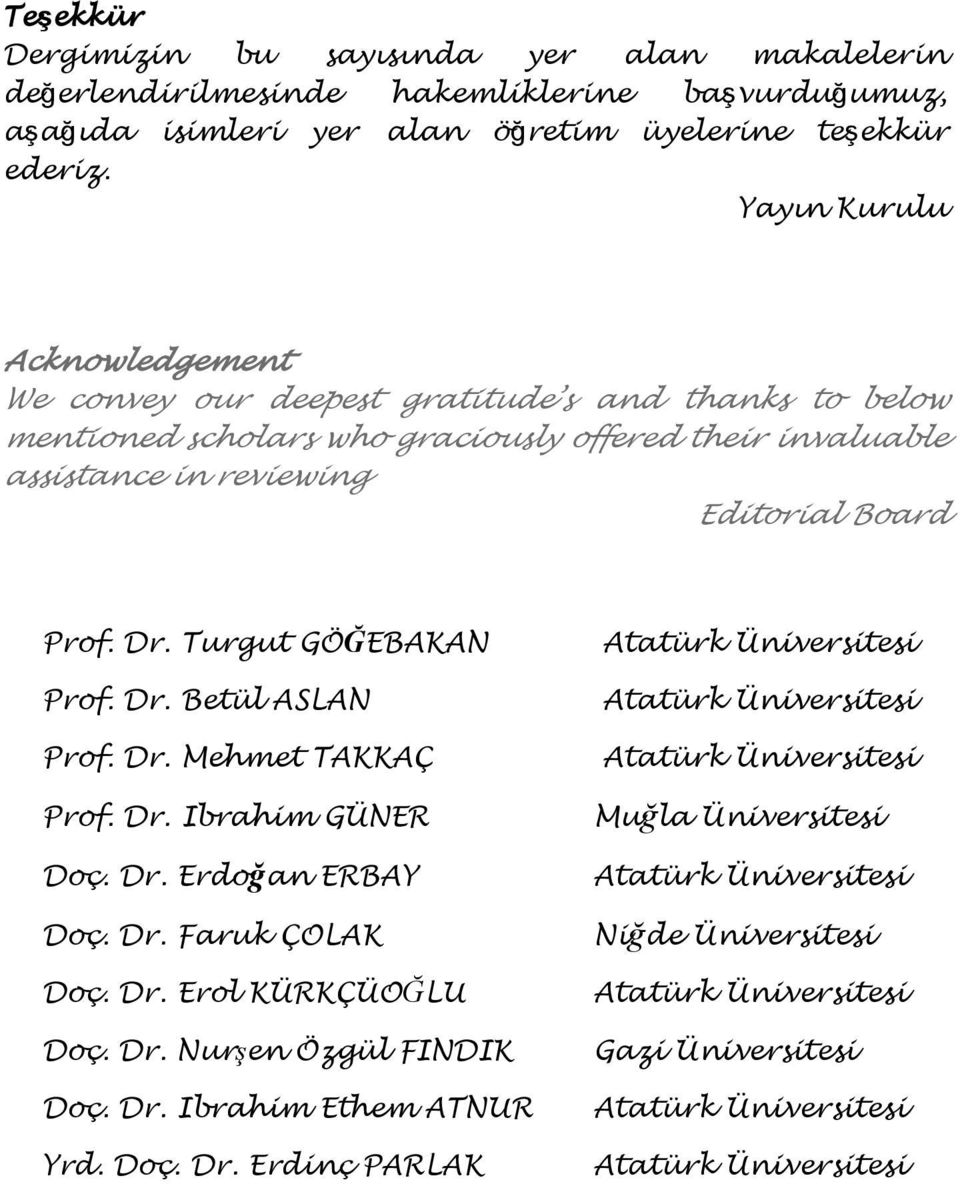 Yayın Kurulu Acknowledgement We convey our deepest gratitude s and thanks to below mentioned scholars who graciously offered their invaluable assistance in