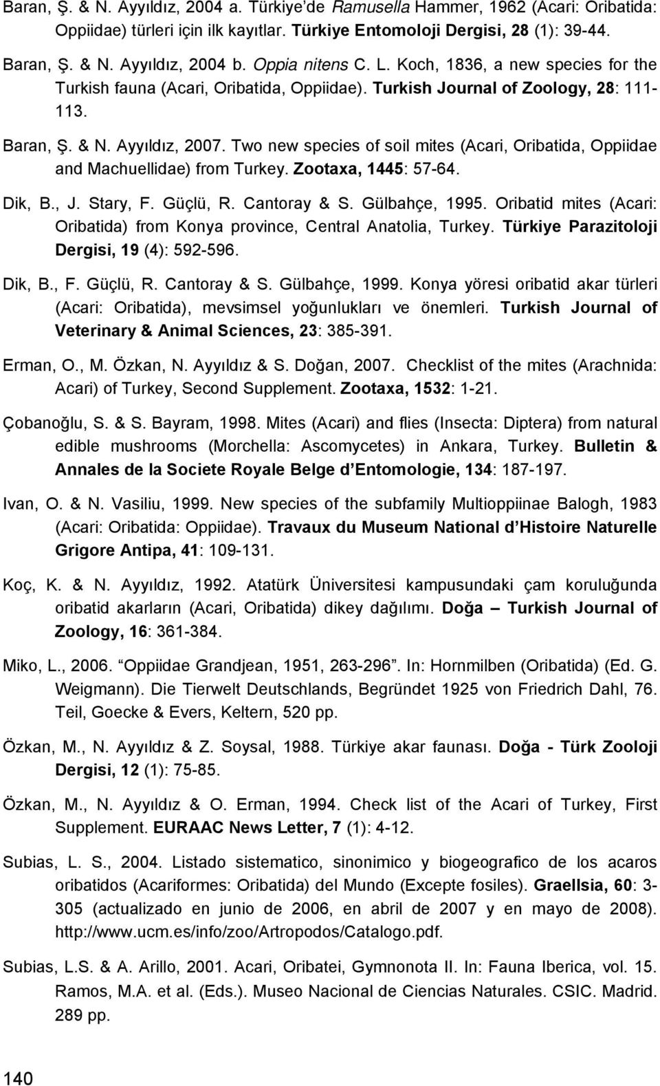 Two new species of soil mites (Acari, Oribatida, Oppiidae and Machuellidae) from Turkey. Zootaxa, 1445: 57-64. Dik, B., J. Stary, F. Güçlü, R. Cantoray & S. Gülbahçe, 1995.