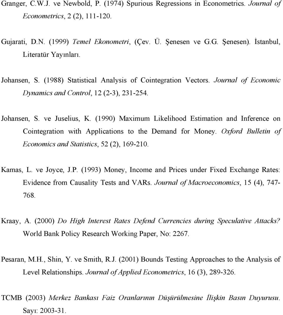 (199) Maxiu Likelihood Esiaion and Inference on Coinegraion wih Applicaions o he Deand for Money. Oxford Bullein of Econoics and Saisics, 5 (), 169-1. Kaas, L. ve Joyce, J.P.