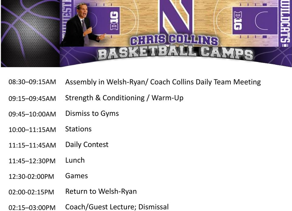 Collins Daily Team Meeting Strength & Conditioning / Warm-Up Dismiss to Gyms