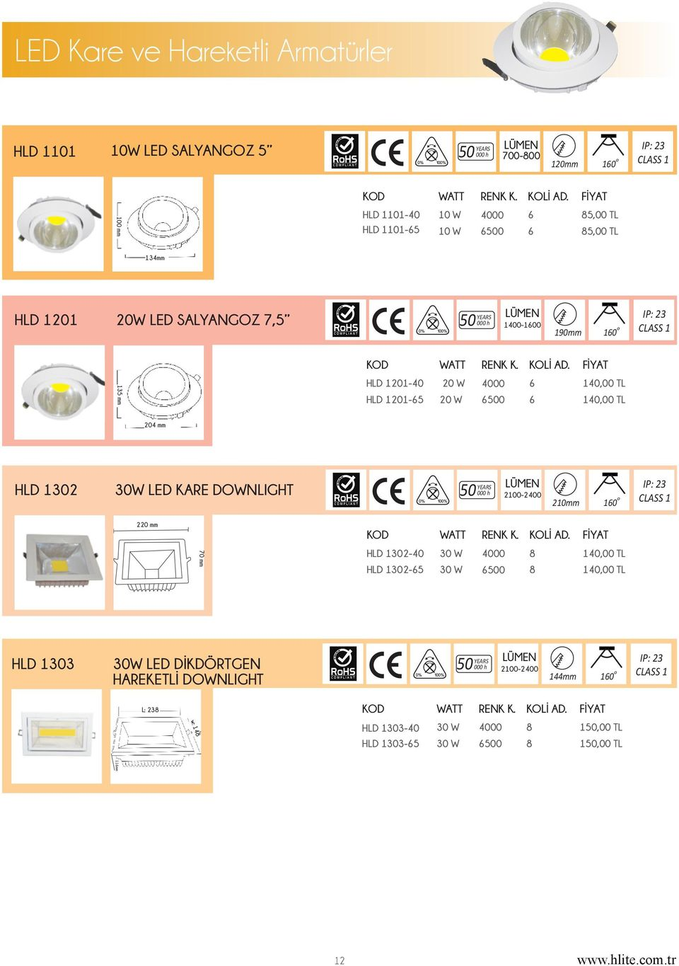 HLD 11- W 00 6 1,00 TL HLD 11-65 W 6 1,00 TL 4 mm HLD 1302 30W LED KARE DOWNLIGHT YEARS 2-210mm 160 IP: 23 CLASS 1 2 mm 70 mm K.