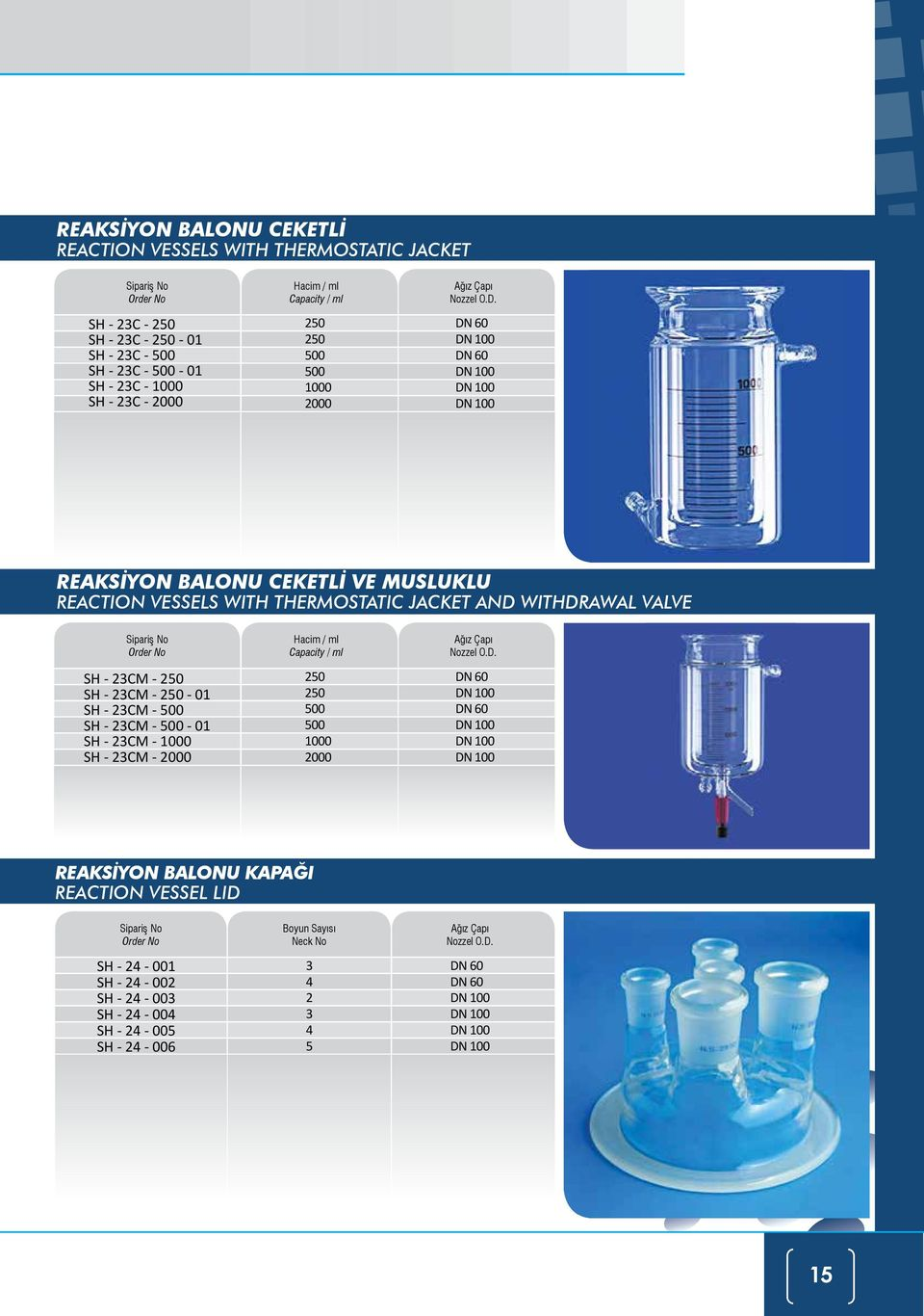 DN 60 DN 100 DN 60 DN 100 DN 100 DN 100 REAKSİYON BALONU CEKETLİ VE MUSLUKLU REACTION VESSELS WITH THERMOSTATIC JACKET AND WITHDRAWAL VALVE SH - 23CM - 250 SH - 23CM - 250-01 SH - 23CM -