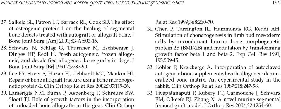 Schwarz N, Schlag G, Thurnher M, Eschberger J, Dinges HP, Redl H. Fresh autogeneic, frozen allogeneic, and decalcified allogeneic bone grafts in dogs. J Bone Joint Surg [Br] 1991;73:787-90. 29.
