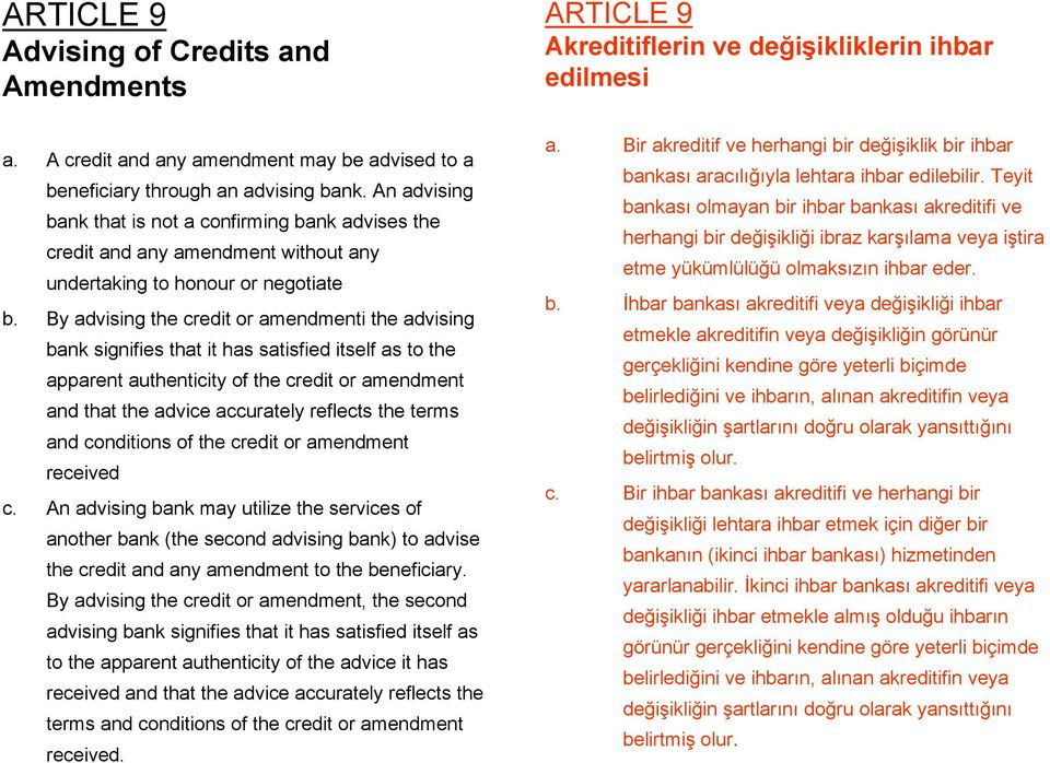 By advising the credit or amendmenti the advising bank signifies that it has satisfied itself as to the apparent authenticity of the credit or amendment and that the advice accurately reflects the