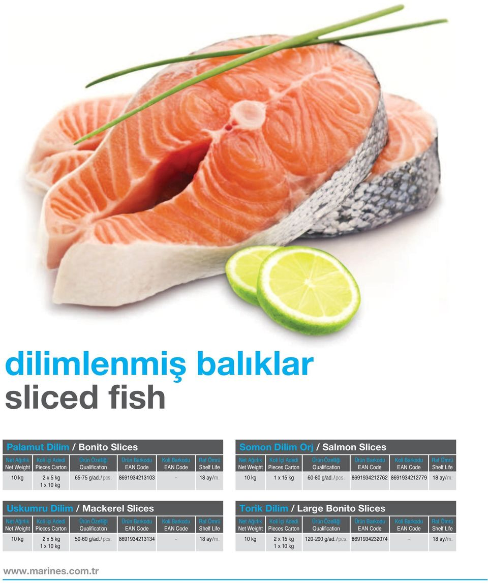 8691934212762 8691934212779 Uskumru Dilim / Mackerel Slices 10 kg 2 x 5 kg 50-60 g/ad./ pcs.