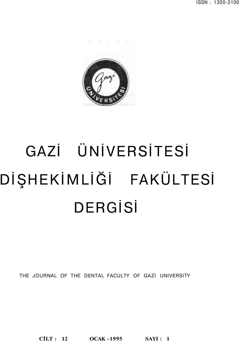 JOURNAL OF THE DENTAL FACULTY OF