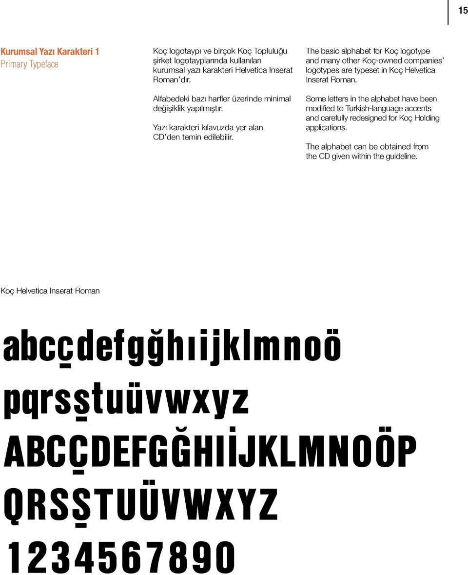 The basic alphabet for Koç logotype and many other Koç-owned companies logotypes are typeset in Koç Helvetica Inserat Roman.