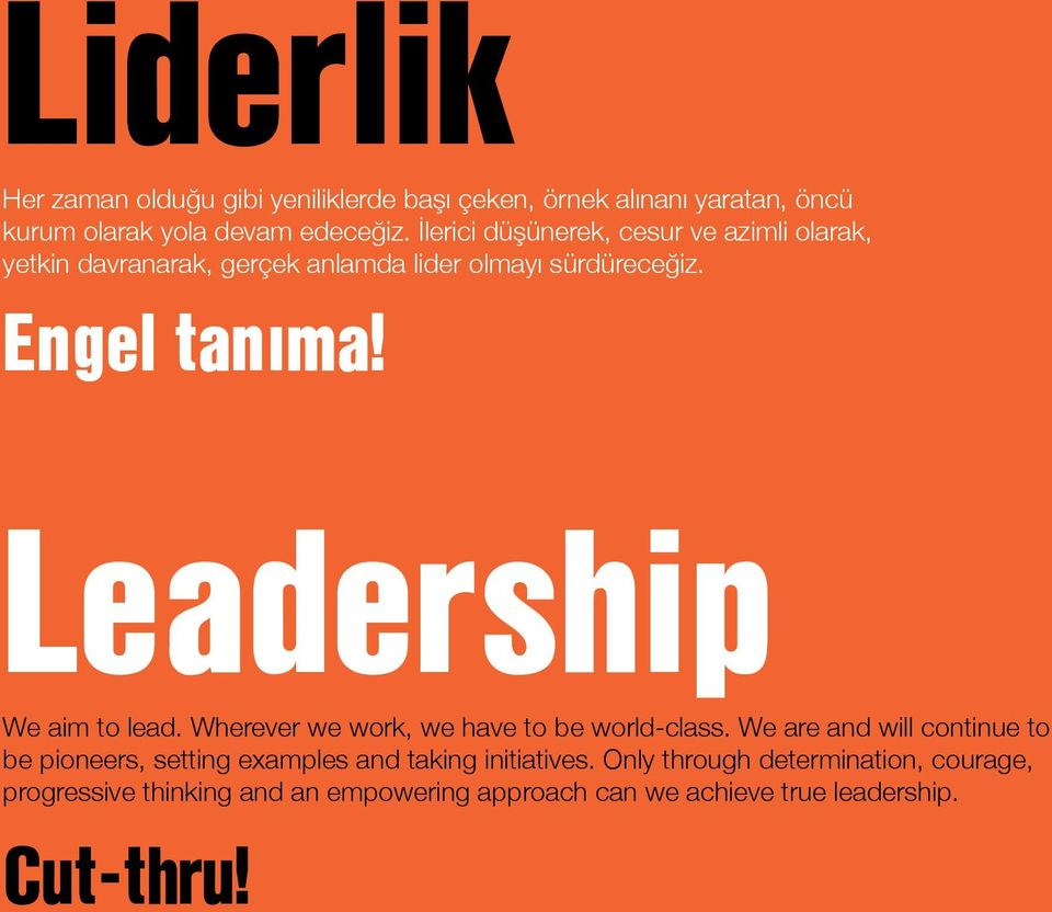 Leadership We aim to lead. Wherever we work, we have to be world-class.