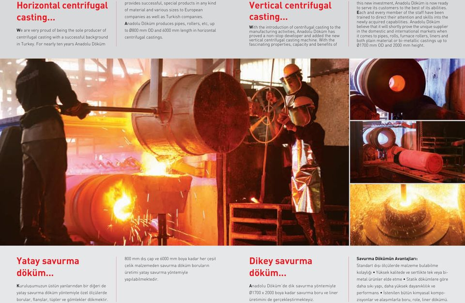 Anadolu Döküm produces pipes, rollers, etc, up to Ø800 mm OD and 6000 mm length in horizontal centrifugal castings. Vertical centrifugal casting.