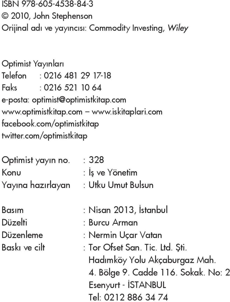 com/optimistkitap Optimist yayın no.