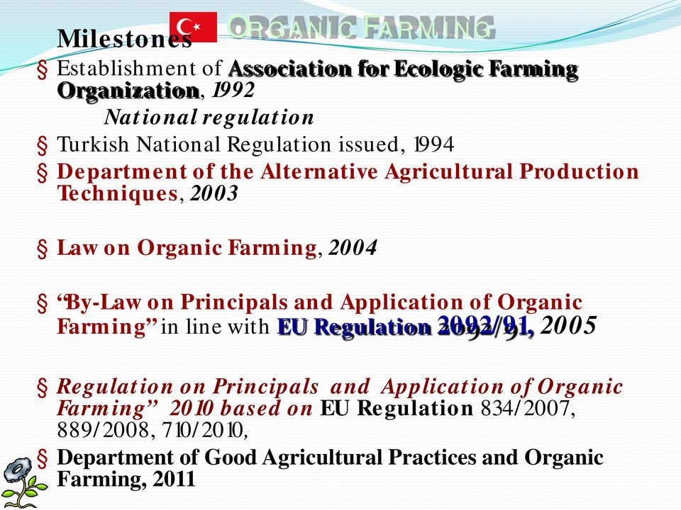 Principals and Application of Organic Farming in line with EU Regulation 2092/91, 2005 Regulation on Principals and Application of