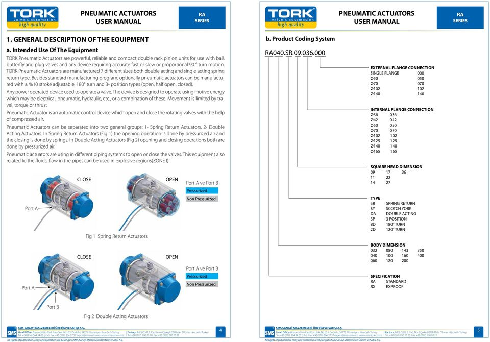 or slow or proportional 90 turn motion. TORK Pneumatic Actuators are manufactured 7 different sizes both double acting and single acting spring return type.