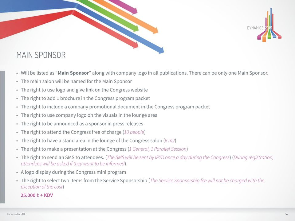 promotional document in the Congress program packet The right to use company logo on the visuals in the lounge area The right to be announced as a sponsor in press releases The right to attend the
