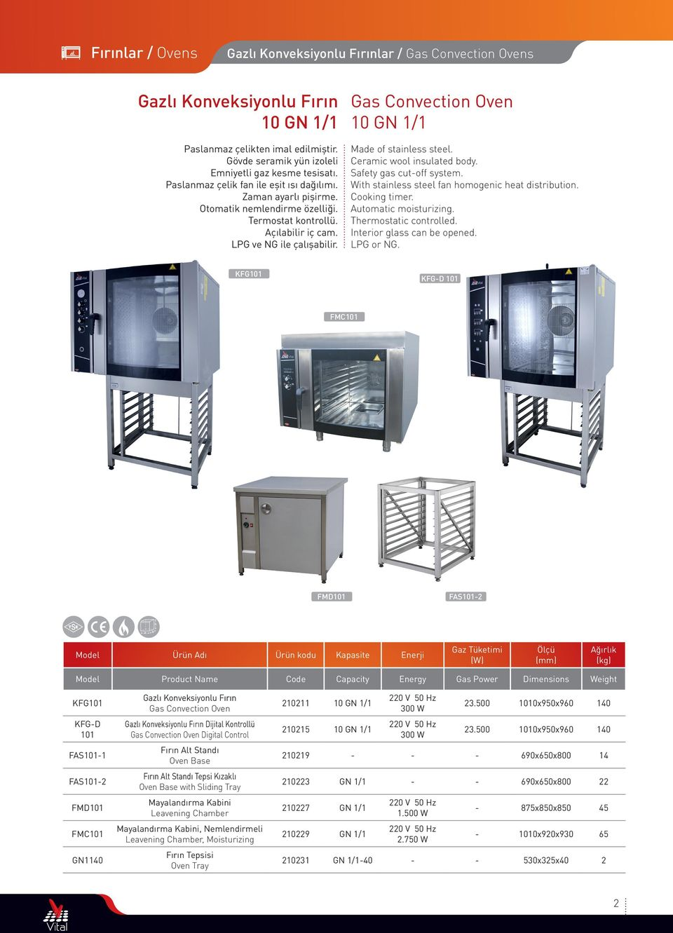 Safety gas cutoff system. With stainless steel fan homogenic heat distribution. Cooking timer. Automatic moisturizing. Interior glass can be opened. LPG or NG.
