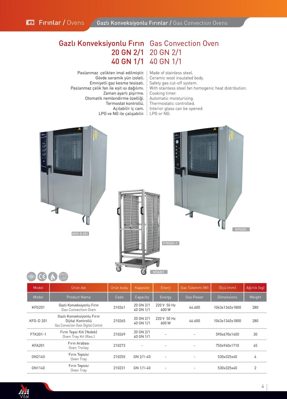 Gas Convection Oven 20 GN 2/1 40 GN 1/1 Ceramic wool insulated body. Safety gas cutoff system. With stainless steel fan homogenic heat distribution. Cooking timer. Automatic moisturizing.